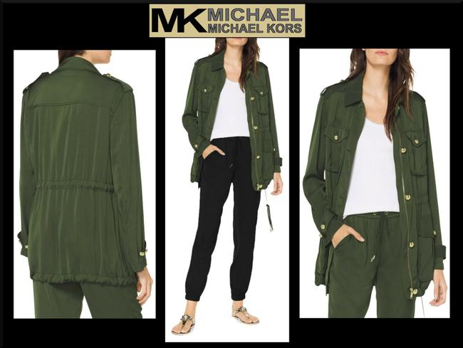 MICHAEL Michael Kors Rounded Collar Flap/Slant Button-down Closure Tab Cuffs Gold Hardware Military Jacket Image 2
