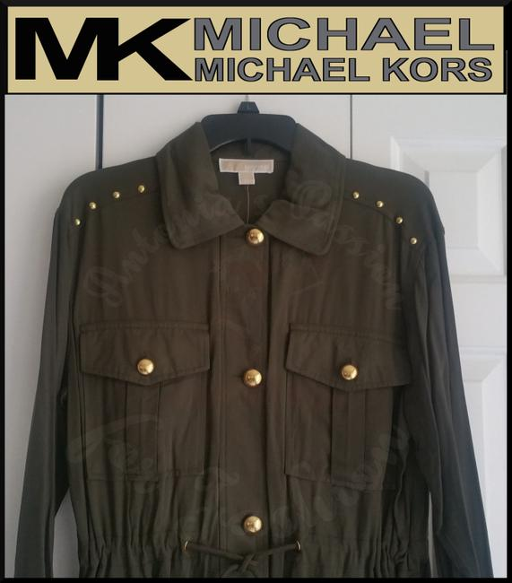MICHAEL Michael Kors Rounded Collar Flap/Slant Button-down Closure Tab Cuffs Gold Hardware Military Jacket Image 3