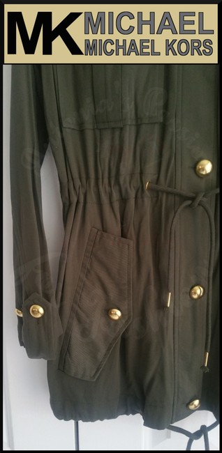 MICHAEL Michael Kors Rounded Collar Flap/Slant Button-down Closure Tab Cuffs Gold Hardware Military Jacket Image 5