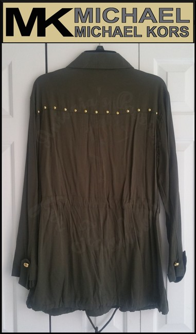 MICHAEL Michael Kors Rounded Collar Flap/Slant Button-down Closure Tab Cuffs Gold Hardware Military Jacket Image 6