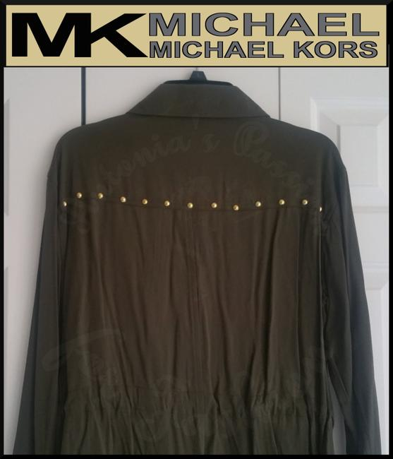 MICHAEL Michael Kors Rounded Collar Flap/Slant Button-down Closure Tab Cuffs Gold Hardware Military Jacket Image 7