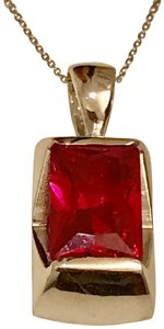 Thailand Lab Created Ruby Pendant In Sterling Silver
