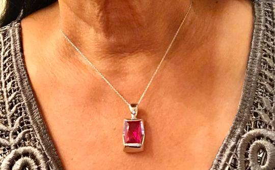 Thailand Lab Created Ruby Pendant In Sterling Silver Image 4