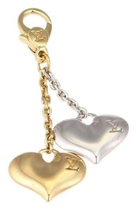 Louis Vuitton Classic 18k Yellow & White Gold Double Hearts Dangle Pendant