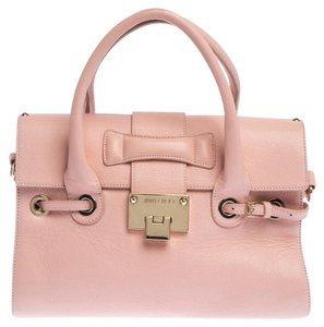 Jimmy Choo Leather Suede Satchel in Pink