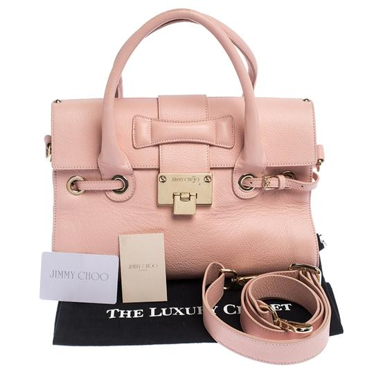Jimmy Choo Leather Suede Satchel in Pink Image 10