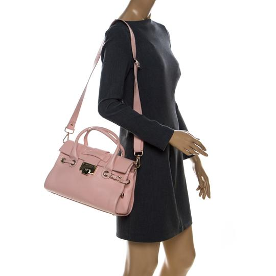 Jimmy Choo Leather Suede Satchel in Pink Image 2
