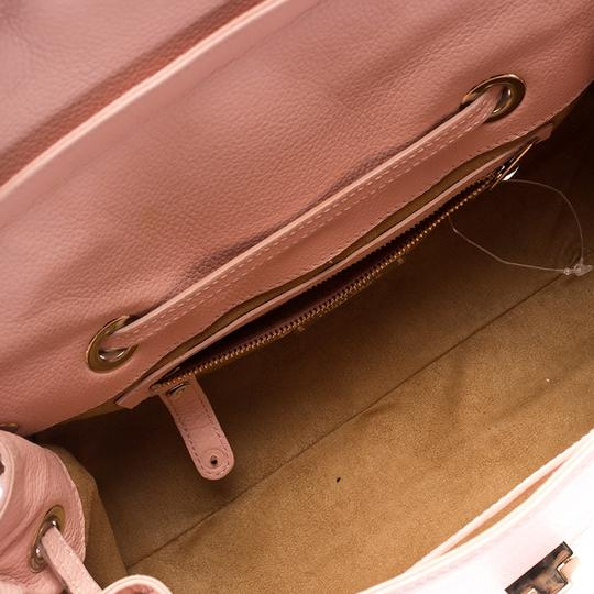 Jimmy Choo Leather Suede Satchel in Pink Image 8