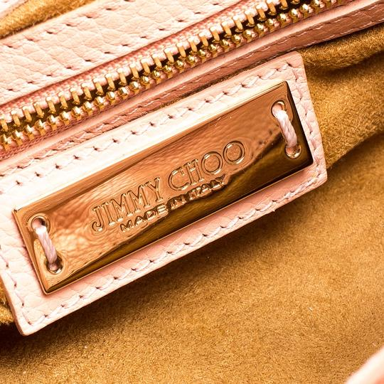 Jimmy Choo Leather Suede Satchel in Pink Image 9