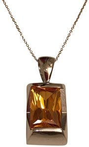 Thailand Faceted Lab Created Citrine Pendant in Sterling Silver