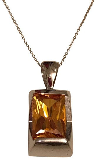 Preload https://img-static.tradesy.com/item/26283955/yellow-and-silver-faceted-lab-created-citrine-pendant-in-sterling-necklace-0-1-540-540.jpg