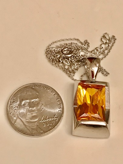Thailand Faceted Lab Created Citrine Pendant in Sterling Silver Image 2