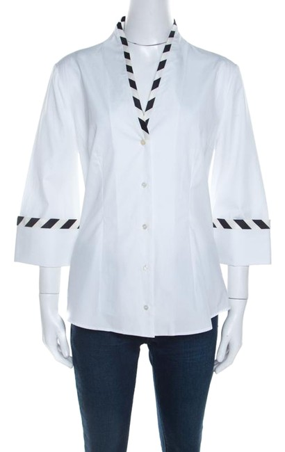 Preload https://img-static.tradesy.com/item/26283990/alexander-mcqueen-white-cotton-striped-piping-detailed-shirt-m-blouse-size-10-m-0-1-650-650.jpg