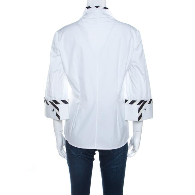 Alexander McQueen Cotton Detailed Striped Top White Image 1