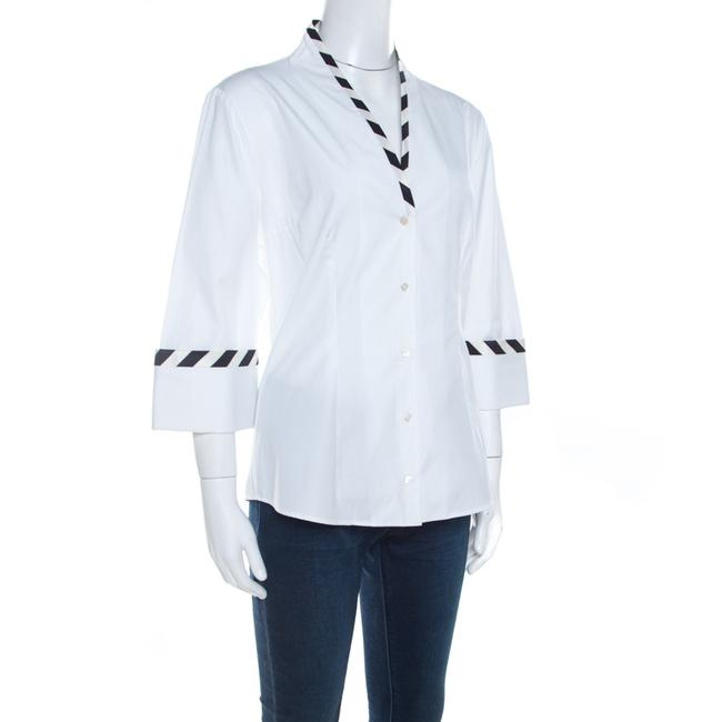 Alexander McQueen Cotton Detailed Striped Top White Image 2