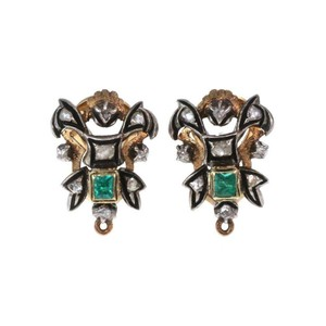 Other Vintage Rose Cut Diamond Emerald 18k Gold & Silver Post Clip Earrings