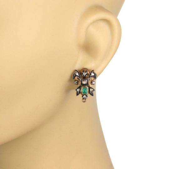 Other Vintage Rose Cut Diamond Emerald 18k Gold & Silver Post Clip Earrings Image 1