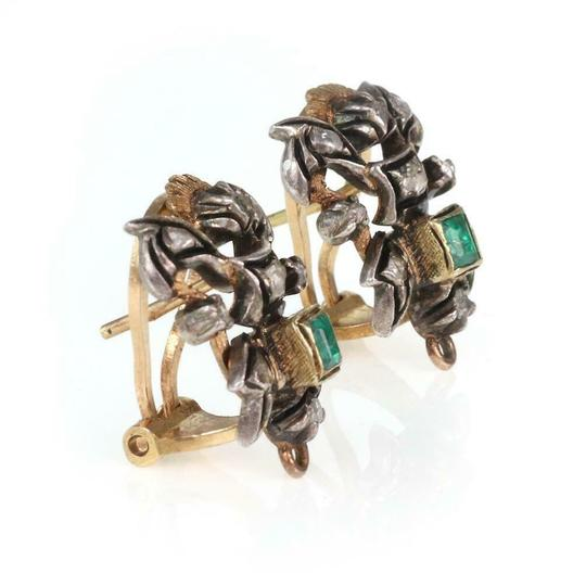 Other Vintage Rose Cut Diamond Emerald 18k Gold & Silver Post Clip Earrings Image 2