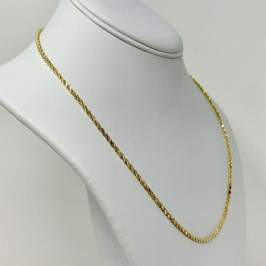 Other 14k Yellow Gold 1.5mm Hollow Diamond Cut Rope Chain Necklace 20