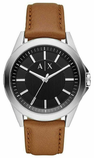 A|X Armani Exchange Armani Exchange Mens Classic Black Dial Brown Leather Watch Box AX26 Image 2