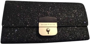 Kate Spade Gold Hardware Exclusive Sparkle Glitter with Black Background Clutch