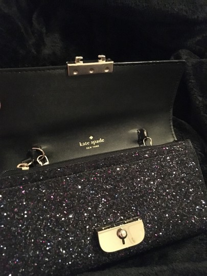 Kate Spade Gold Hardware Exclusive Sparkle Glitter with Black Background Clutch Image 4
