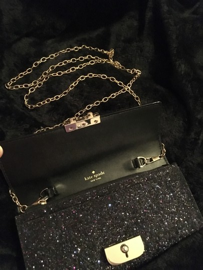Kate Spade Gold Hardware Exclusive Sparkle Glitter with Black Background Clutch Image 5