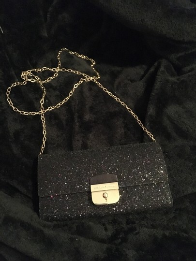 Kate Spade Gold Hardware Exclusive Sparkle Glitter with Black Background Clutch Image 8