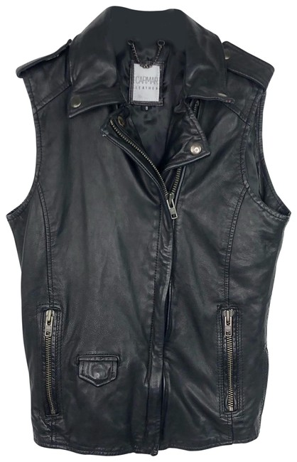 Preload https://img-static.tradesy.com/item/26284075/carmar-black-leather-bomber-asymmetrical-zipper-pockets-vest-size-8-m-0-1-650-650.jpg