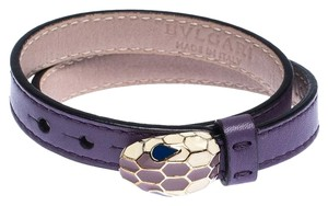 BVLGARI Forever Enamel Purple Double Coiled Leather Gold Plated Bracelet