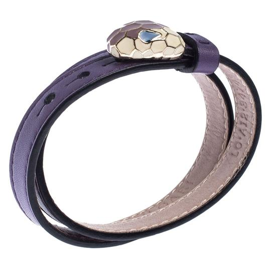 BVLGARI Forever Enamel Purple Double Coiled Leather Gold Plated Bracelet Image 1
