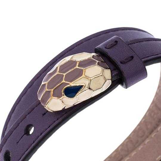 BVLGARI Forever Enamel Purple Double Coiled Leather Gold Plated Bracelet Image 2
