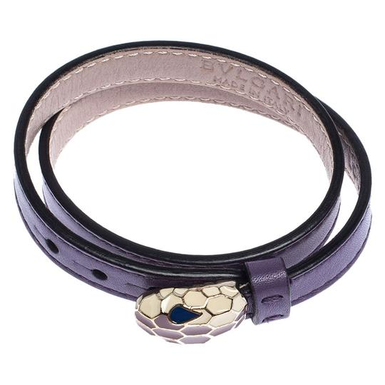 BVLGARI Forever Enamel Purple Double Coiled Leather Gold Plated Bracelet Image 5