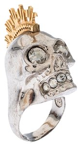 Alexander McQueen Alexander McQueen Crystal Skull Punk Two Tone Cocktail Ring Size 54