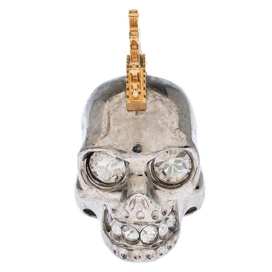Alexander McQueen Alexander McQueen Crystal Skull Punk Two Tone Cocktail Ring Size 54 Image 1
