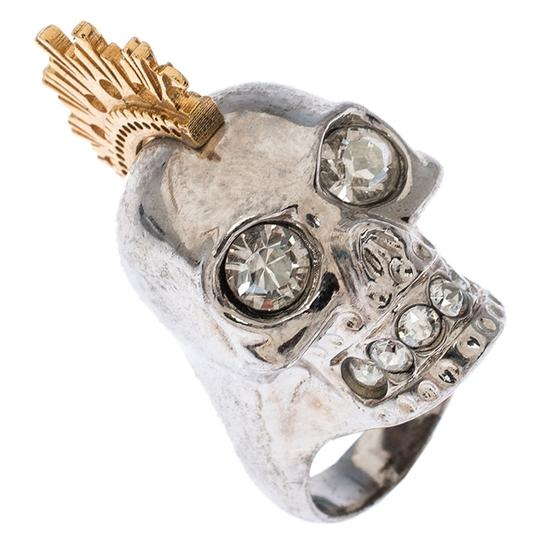 Alexander McQueen Alexander McQueen Crystal Skull Punk Two Tone Cocktail Ring Size 54 Image 2