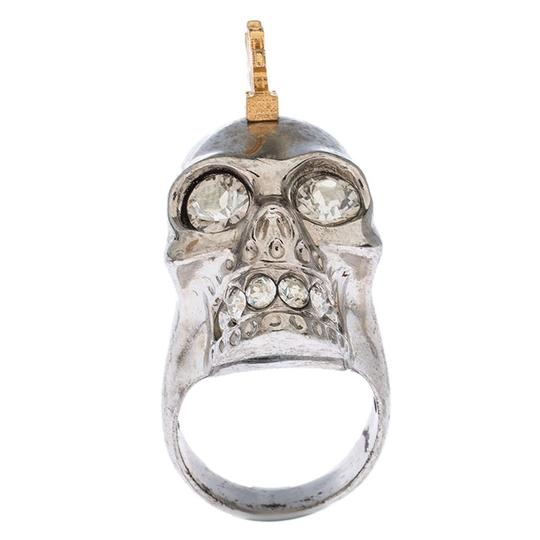 Alexander McQueen Alexander McQueen Crystal Skull Punk Two Tone Cocktail Ring Size 54 Image 3