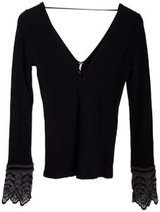 Free People Embroidered Lace T Shirt Black