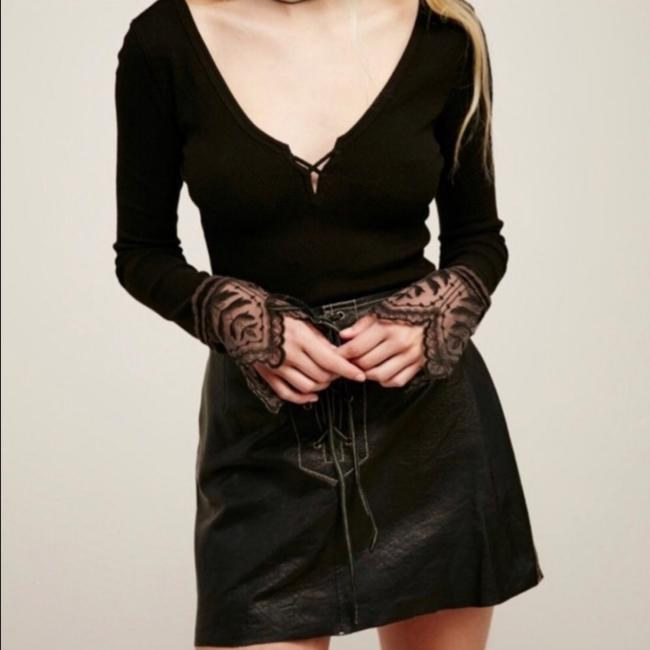 Free People Embroidered Lace T Shirt Black Image 1