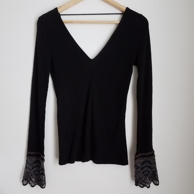 Free People Embroidered Lace T Shirt Black Image 3