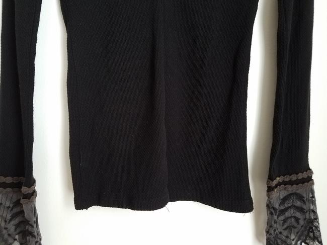 Free People Embroidered Lace T Shirt Black Image 5