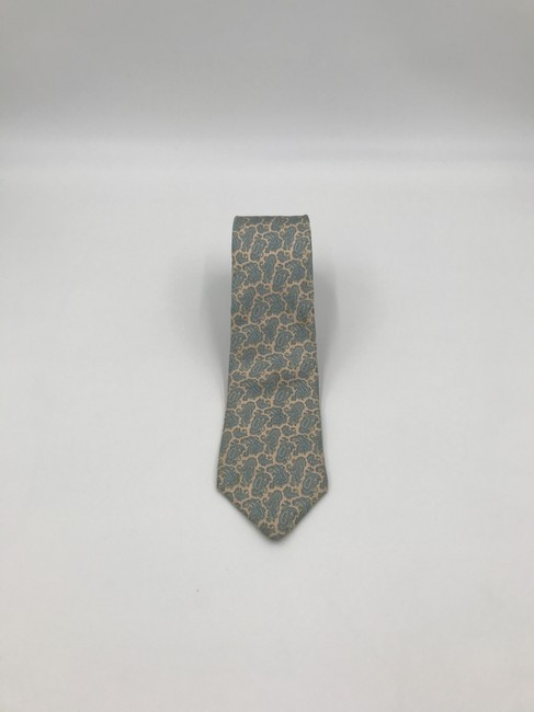 Item - Beige and Blue Christian with Paisley Print Tie/Bowtie