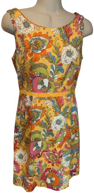 Item - Yellow Pink Green White Floral Print Short Casual Dress Size 2 (XS)