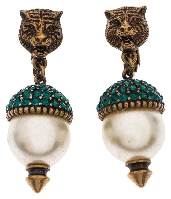 Item - Green Antique Gold Tone Feline Pearl and Crystal Clip On Drop Earrings