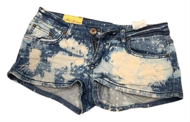 Item - Distressed Dark Blue and White Tie Dye Ripped / Large Denim Shorts Size 8 (M, 29, 30)