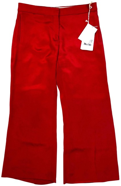 Item - Red W Silk High Waist Trousers New Tags Pants Size 4 (S, 27)