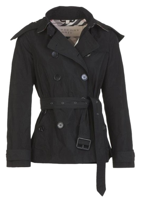 Item - Black Balmoral Trench Coat with Hood Check Lining Jacket Size 10 (M)