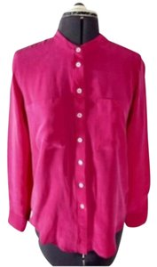 Iris & Ink Silk Button Career Casual Button Down Shirt Pink