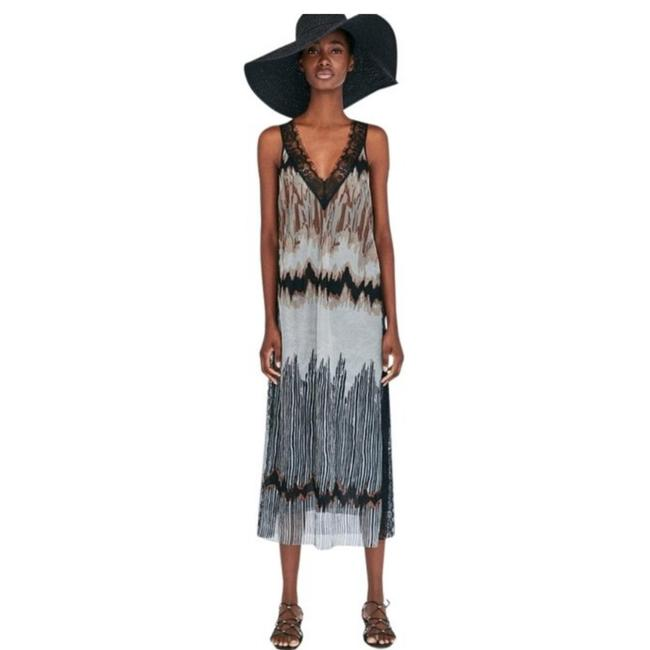 Item - Black White Lace-trimmed Tie-dye Mid-length Casual Maxi Dress Size 8 (M)