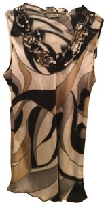 Larry Levine Top Black, gold, and white